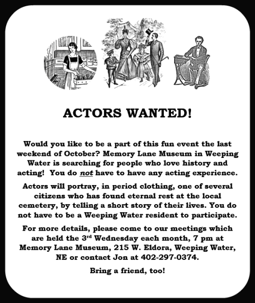 2018 04 25 WW Memory Lane actors wanted 2