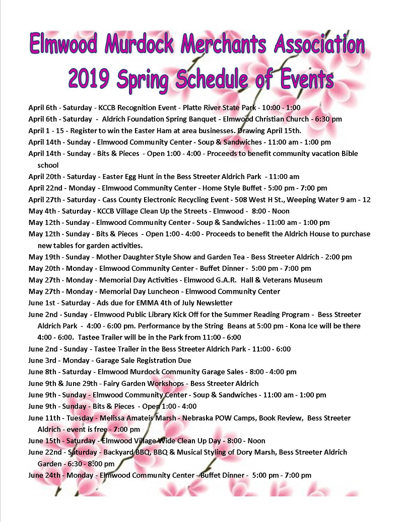 2019 Spring Schedule of Events pink