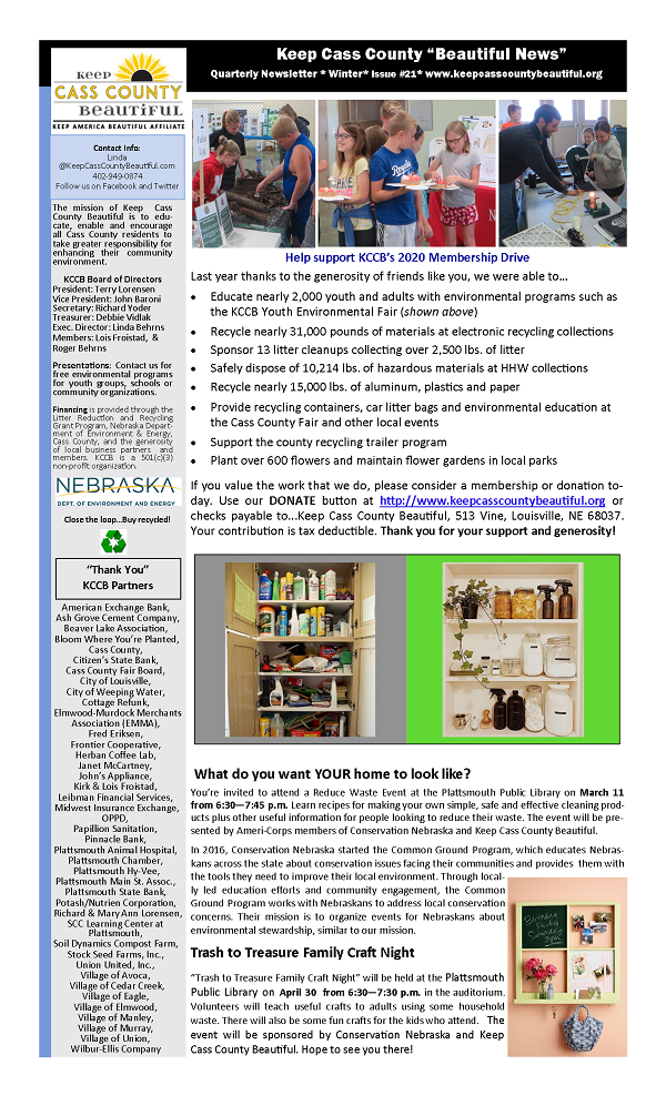 2020 Winter Newsletter page 1